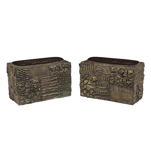 Paul Evans Side Tables Sculpted Bronze Wood Free-form Tops Signed USA, 1960s