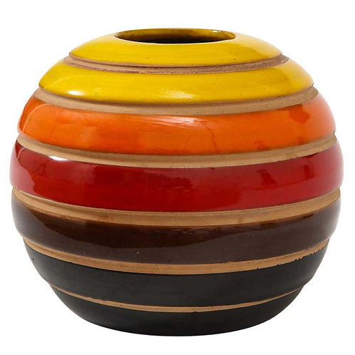 Raymor Bitossi Vase, Ceramic Stripes, Yellow Orange Red, Signed