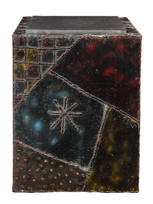 Paul Evans Side Table, Welded Painted Steel, Bronze and Slate, Signed.