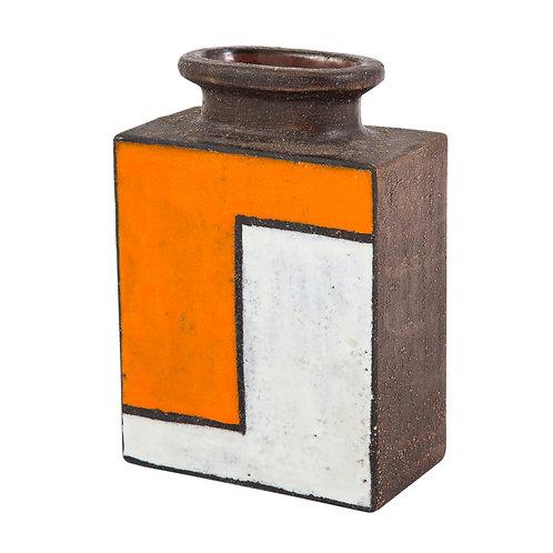 Bitossi Vase, Ceramic, Orange and White Mondrian