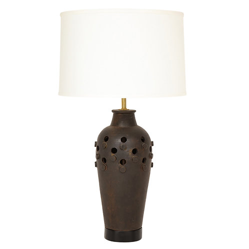 Italian Ceramic Table Lamp with Raised Discs and Cutouts