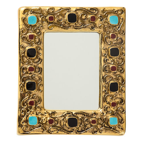 Francois Lembo Mirror, Ceramic, Jeweled, Gold, Turquoise, Red and Black