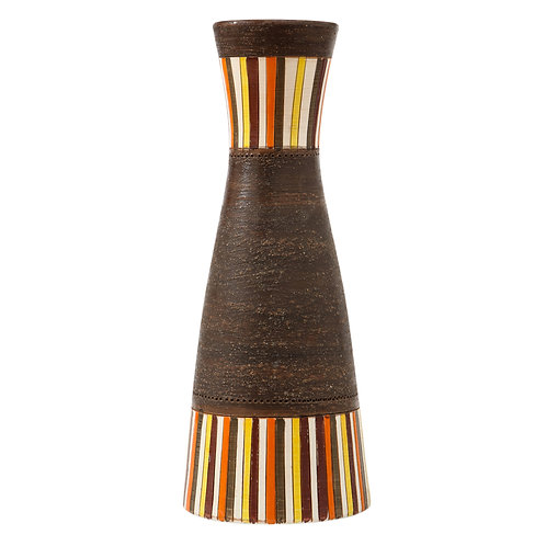 Bitossi Vase, Large, Stripes, Yellow, Orange and Matte Brown, Signed