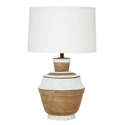 Raymor Zaccagnini Lamp, Ceramic, White Stripes, Signed