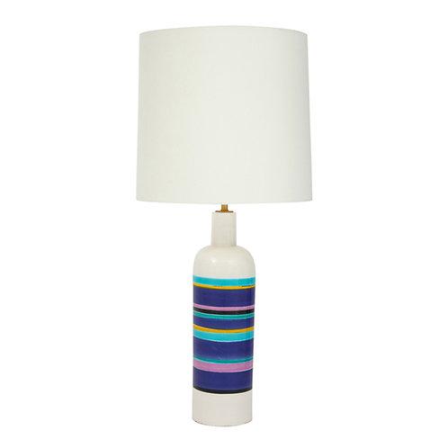 Bitossi Lamp, Ceramic, White Blue Stripes, Signed
