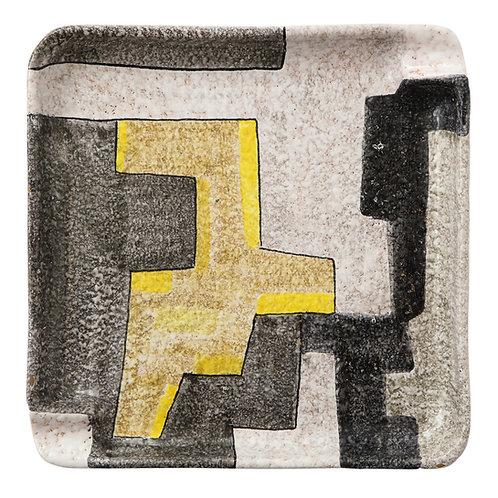 Raymor Ashtray, Ceramic, Geometric, Yellow and Gray, Signed