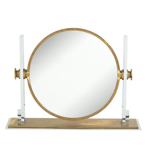 Karl Springer Mirror, Brass Chrome Convex