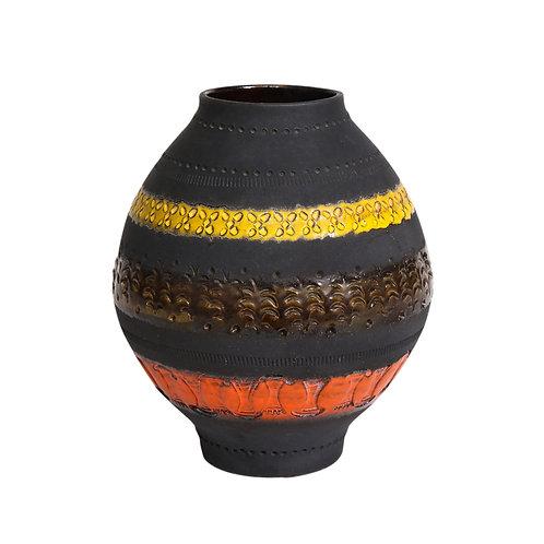 Raymor Bitossi Vase, Ceramic, Matte Black Yellow Orange, Signed