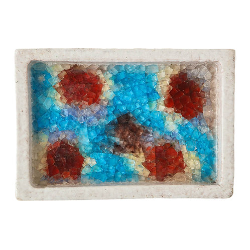 Bitossi Bowl, Ceramic and Fused Glass, White, Red and Blue, Signed