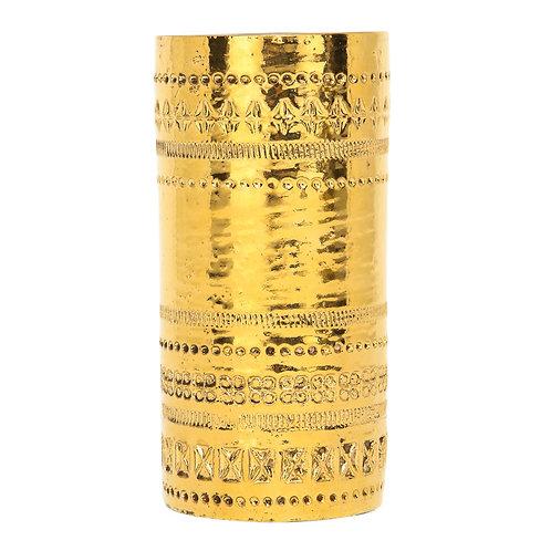 Bitossi Gold Ceramic Pottery Metallic Vase Signed, Italy, 1960s