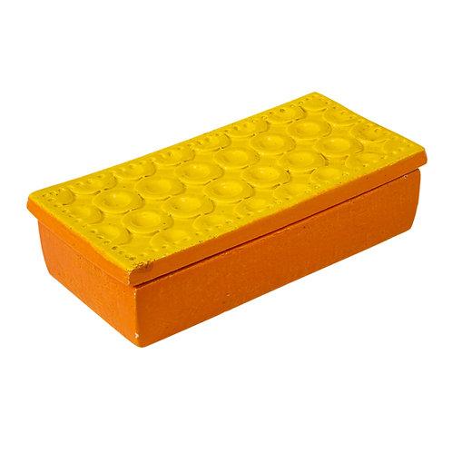 Bitossi Box, Ceramic, Yellow and Orange, Signed