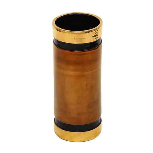 Bitossi Rosenthal Netter Vase, Ceramic, Metallic Gold Copper and Black, Signed