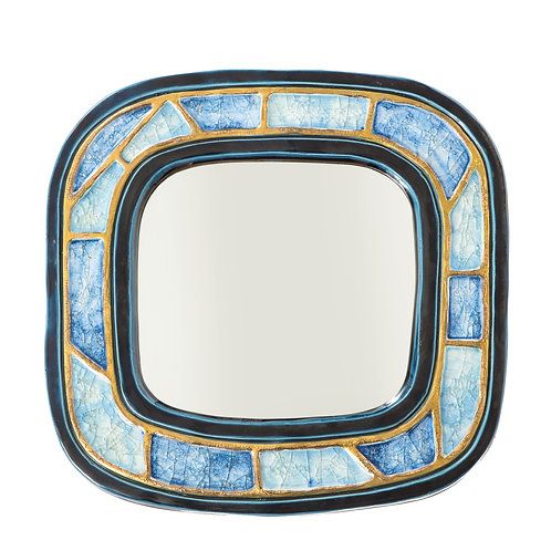 Francois Lembo Mirror, Ceramic, Gold, Blue Fused Glass