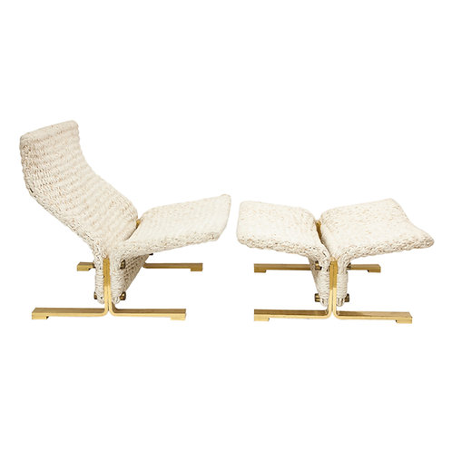 Marzio Cecchi Lounge Chair and Ottoman, Woven Rope and Brass