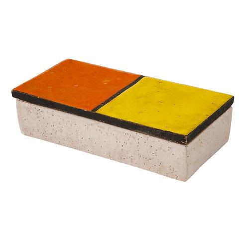 Bitossi Rosenthal Netter Box, Ceramic, Mondrian Orange Yellow, Signed