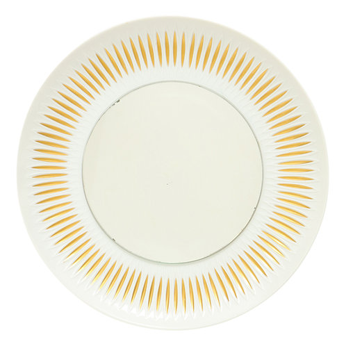 Hutschenreuther Mirror, Sunburst, Porcelain, Gold and White, Signed