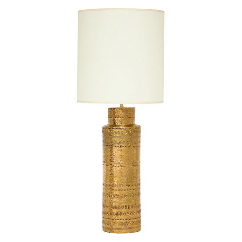 Aldo Londi Bitossi Table Lamp, Metallic Gold Ceramic, Signed