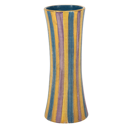 Elbee Vase, Ceramic Stripes, Pastel and Gold, Signed