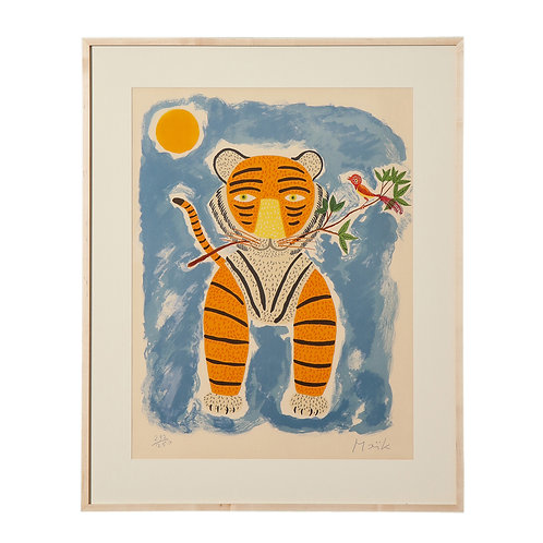 Henri Maik Lithograph, Le Tigre, Orange, Blue, Signed and Numbered