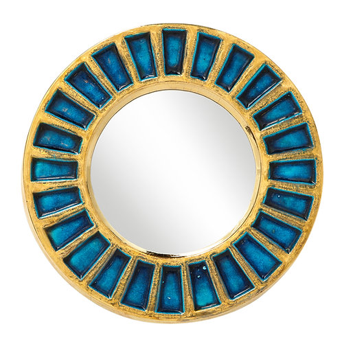 Francois Lembo Ceramic Mirror Gold Blue Signed, France, 1970s