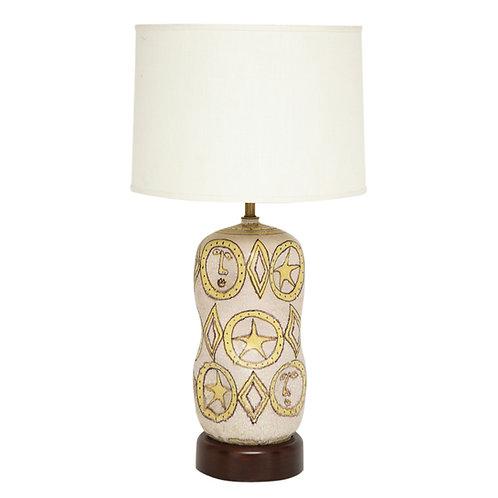 Guido Gambone Lamp, Ceramic Yellow Signed