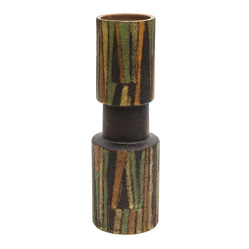 Bitossi Vase, Ceramic, Milano Moderna, Green, Brown, Geometric, Stripes, Signed