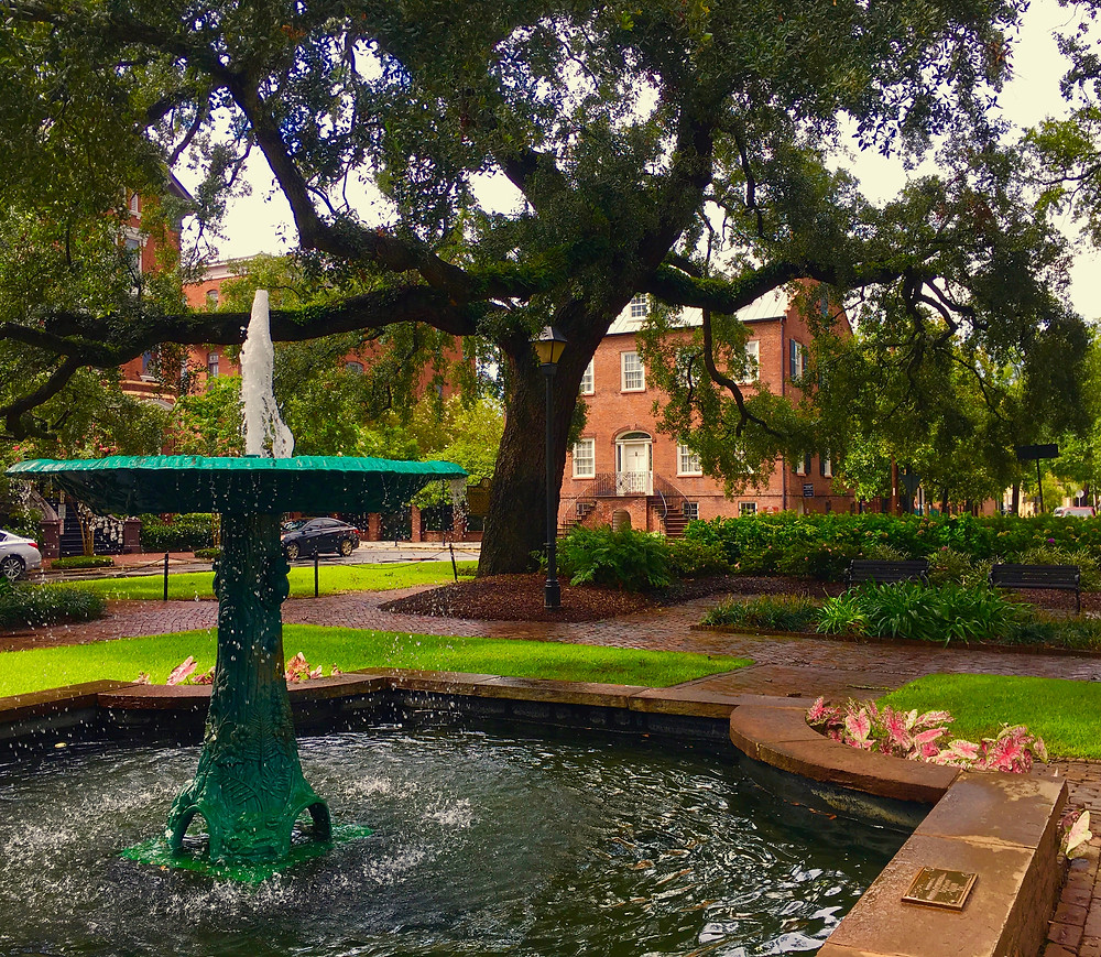 Wormsloe Fountain, Columbia Square, view of the Davenport House , Savannah GA