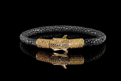 Zlatý náramek EDGAR GRIG z rejnočí kůže