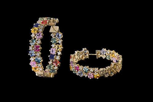 Náušnice MIRAGE s diamanty a vícebarevné safíry