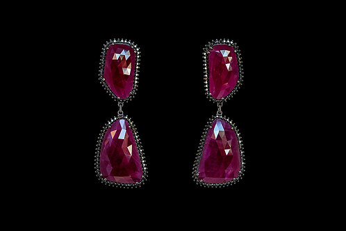 Náušnice FIRE s diamanty a rubiny