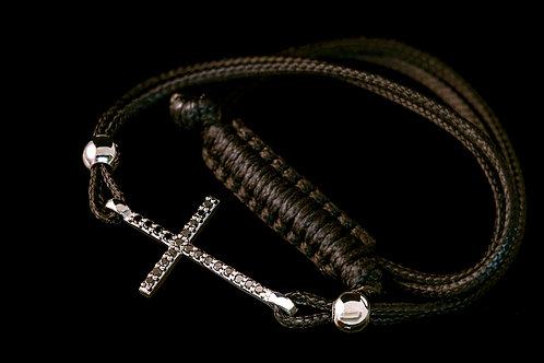 Náramek ČERNÝ KŘÍŽ s černé diamanty