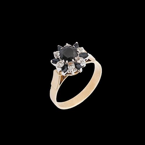 Prsten BLOOM se safíry a diamanty