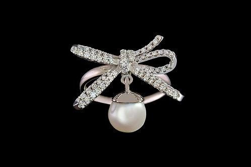 Prsten MOON s perlou a diamanty