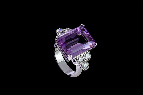 Prsten NEW YORK s ametystem a diamanty
