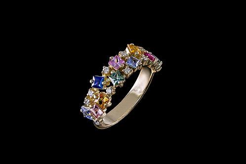 Prsten MIRAGE s diamanty a vícebarevné safíry