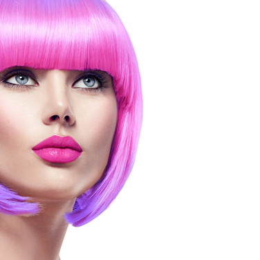 Women with pink and purple ombre bob