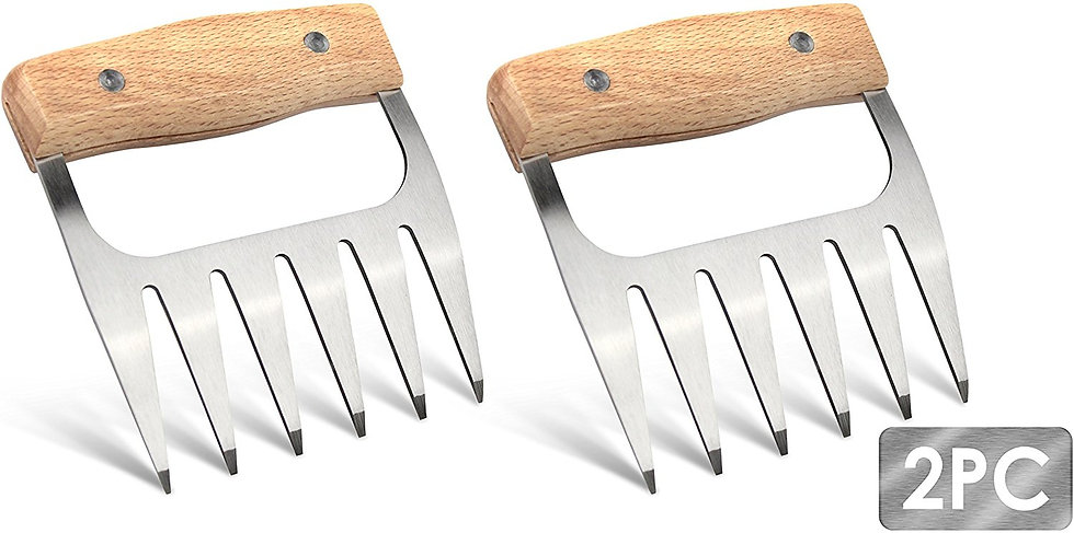 CalSunO Metal Pulled Meat Shredder Claws,Stainless Steel BBC Meat Carving Forks