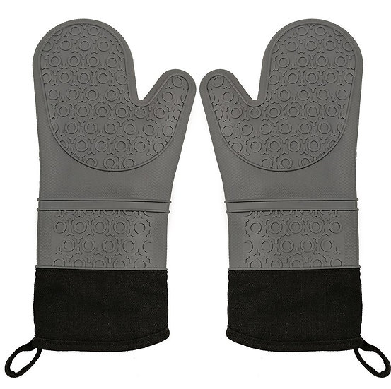 CalSunO Professional Silicone Oven Mitts Heat Resistant Commercial Grade Extra L