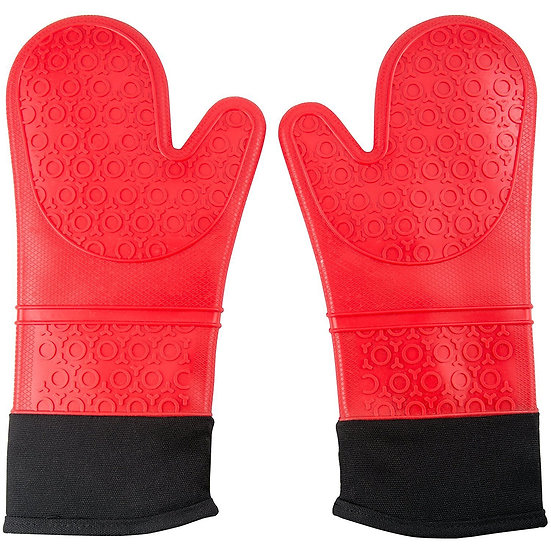 Professional Silicone Oven Mitts Heat Resistant Commercial Grade Extra Long Quil