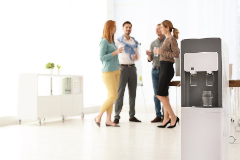 Modern water cooler with glass and blurr