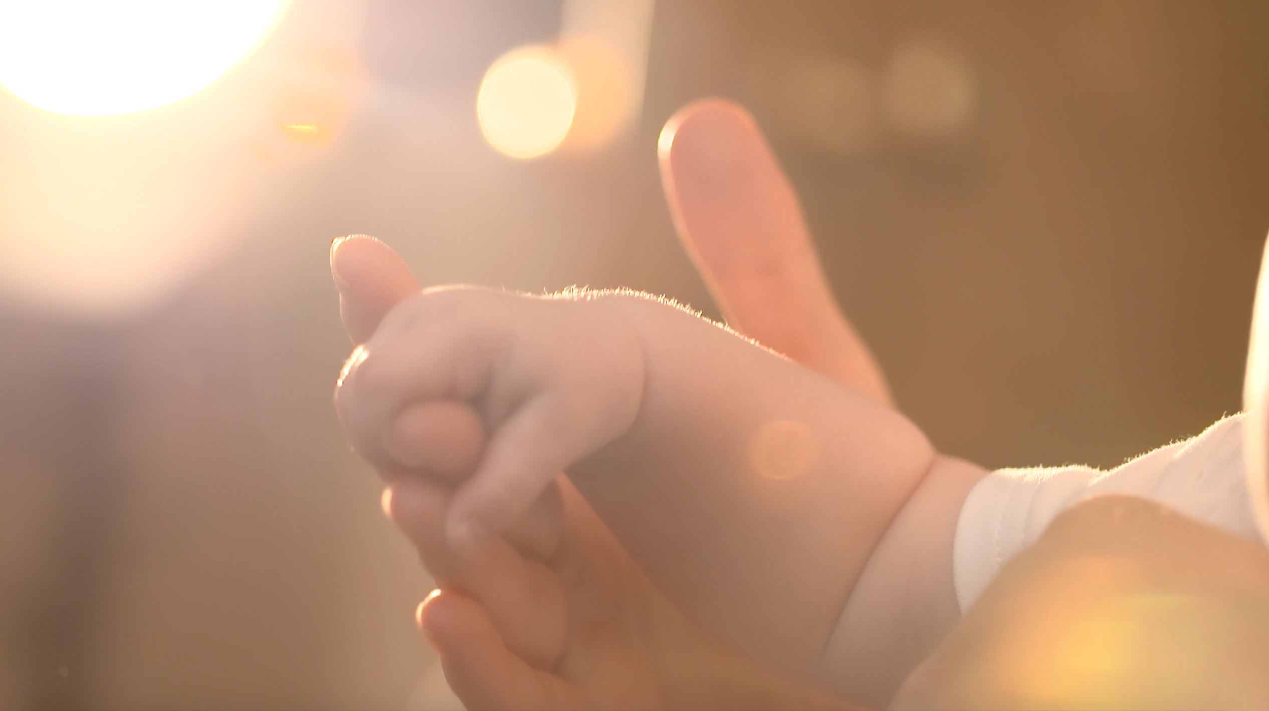 Infant holding the hand of an adult