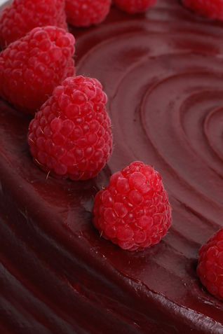 Raspberry and Chocolate Cake Close Up