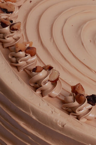 Coffee and Walnut Cake Close Up