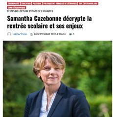 """Interview """"Samantha Cazebonne décrypte la rentrée scolaire et ses enjeux"""" Les Français.Press"""