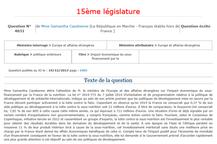 Question écrite au gouvernement #13  - financement par la France de la nutrition - Samantha Cazebonn