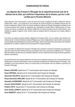 Les députés des Français à l'Étranger de la majorité prennent acte de la décision de la CJUE, qui co