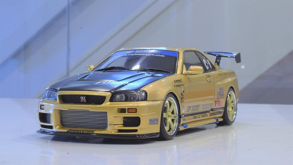 1/18 IGNITION MODEL -TOP SECRET NISSAN GT-R R34 SKYLINE (GOLD)