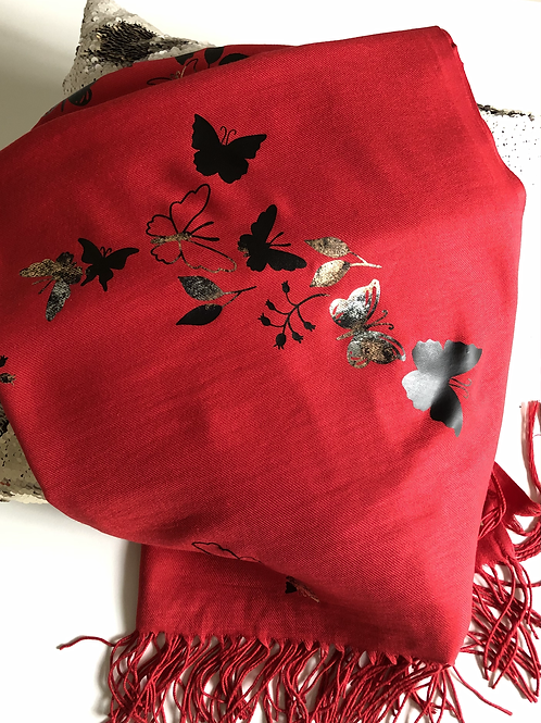PILLAR BOX RED PASHMINA WITH BUTTERFLY PRINT