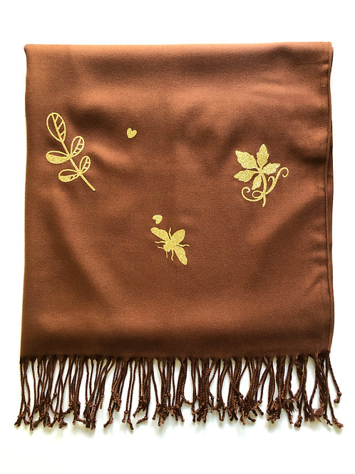 BROWN PASHMINA WITH GOLD GLITTER EMBELLISHMENT (Chocolate Bee)