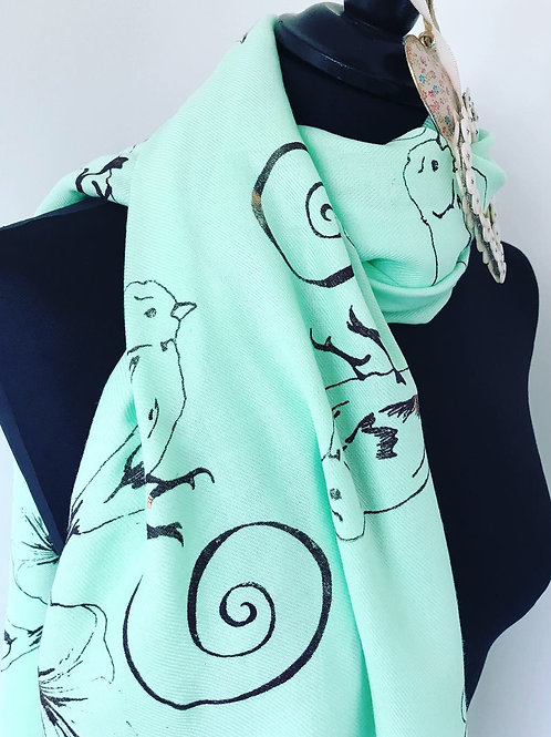 BIRD AND FLOWER PRINT PASHMINA IN MINT GREEN